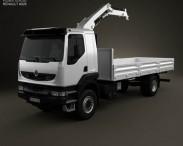 3D model of Renault Kerax Flatbed Crane 2011