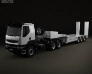 3D model of Renault Kerax Tractor Platform Trailer 2011
