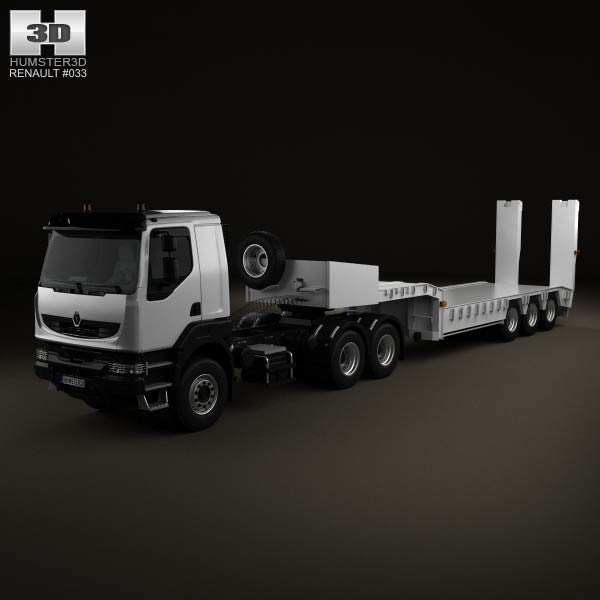 Renault Kerax Tractor 3-axis Platform Trailer 2011 3d car model