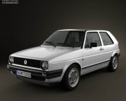 3D model of Volkswagen Golf Mk2 3-door 1983