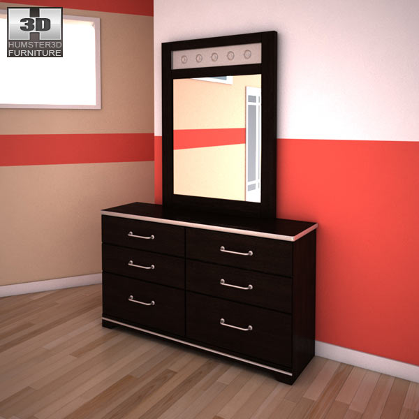 Ashley I-Zone Bookcase Dresser &#038; Mirror 3d model