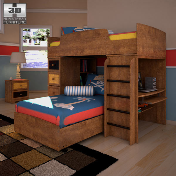 ashley alexander youth loft bedroom set 3d model humster3d
