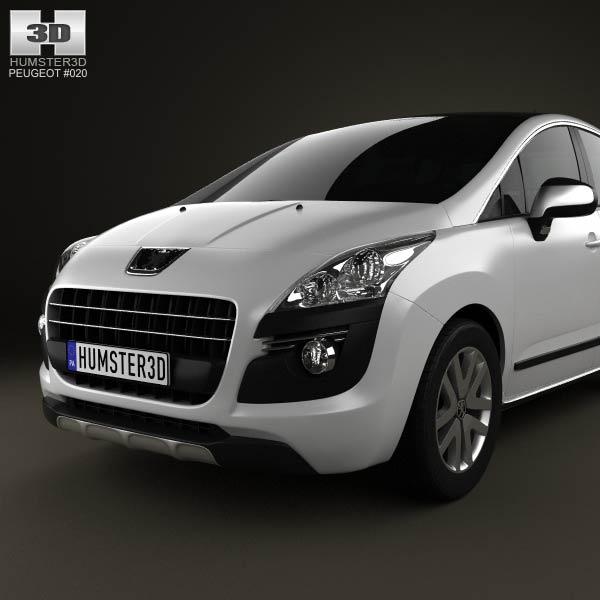 peugeot 3008 hybrid 2012 3d model humster3d. Black Bedroom Furniture Sets. Home Design Ideas
