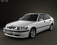 3D model of Saab 9-3 Hatchback 5-door 2001