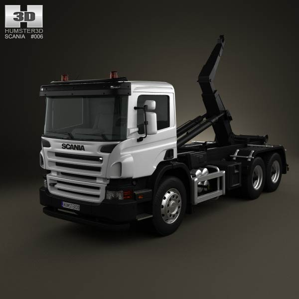 Scania P Hook Loader 3-axis 2011 3d car model