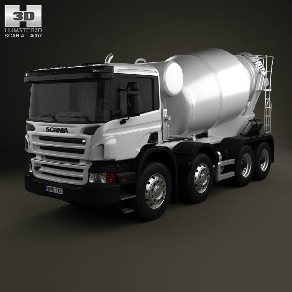 Scania P Mixer 4-axis 2011 3d car model