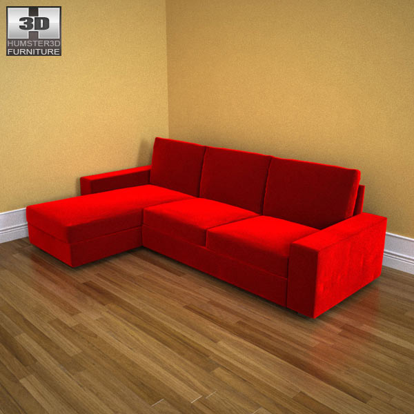 Ikea kivik chaise longue 3d model humster3d for Chaise longue sofa bed reviews