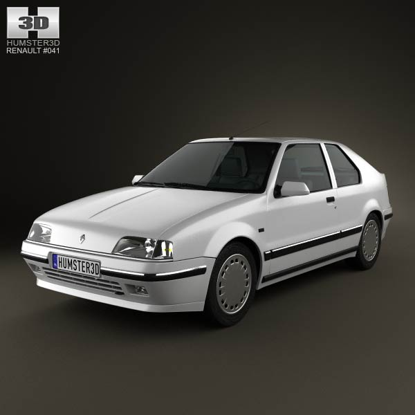 Renault 19 3-door hatchback 1988 3d car model