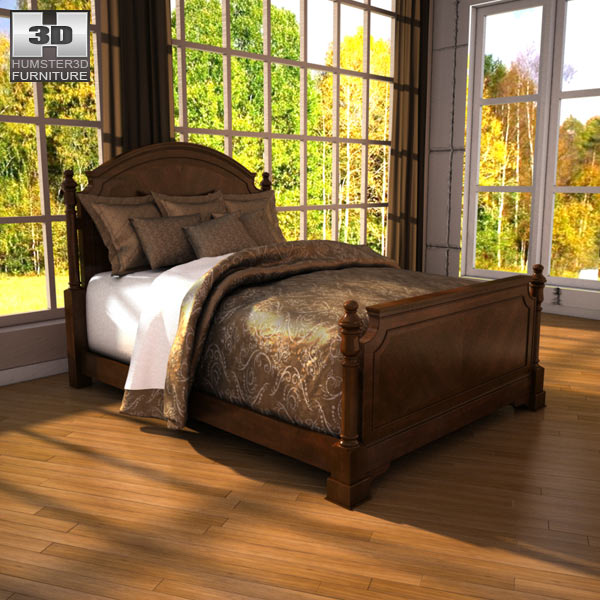 Ashley Leighton Queen Poster Bed 3d model