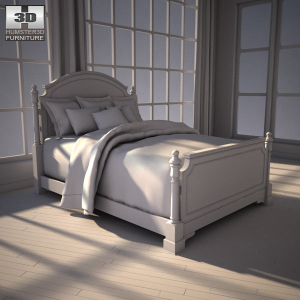 ashley leighton queen poster bed 3d model humster3d