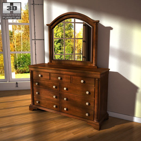 Ashley Leighton Dresser & Mirror 3d model