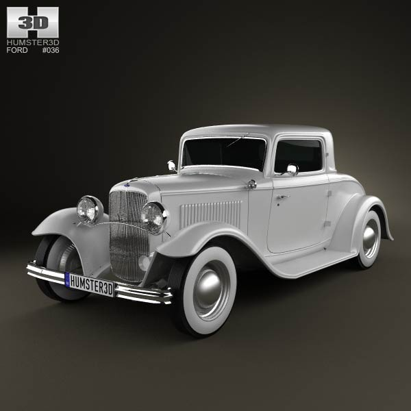 Ford Model B De Luxe Coupe V8 1932 3d car model