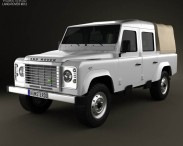 3D model of Land Rover Defender 110 Double Cab pickup 2011