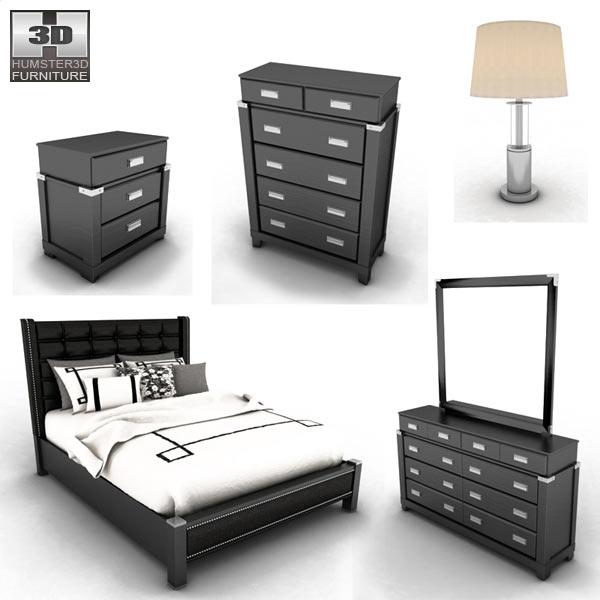 Ashley diana platform bedroom set 3d model humster3d for Diana bedroom set