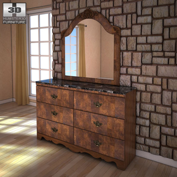 Ashley Buckingham Dresser &#038; Mirror 3d model