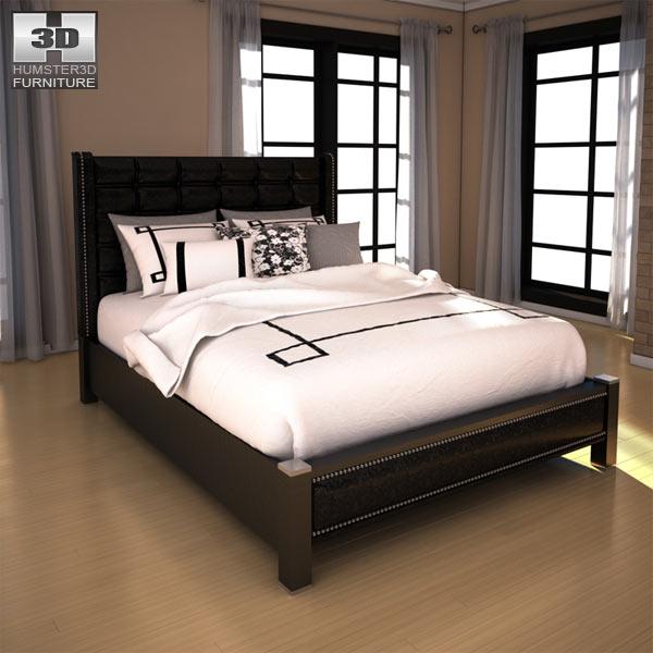 Ashley diana queen upholstered headboard bed 3d model for Diana bedroom set