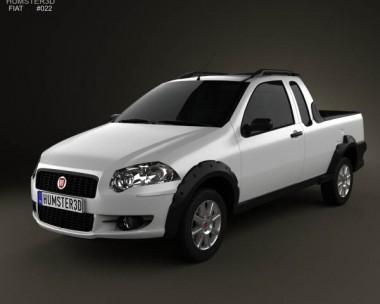 3D model of Fiat Strada Crew Cab Trekking 2012