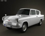 3D model of Ford Anglia 105e 2-door Saloon 1967
