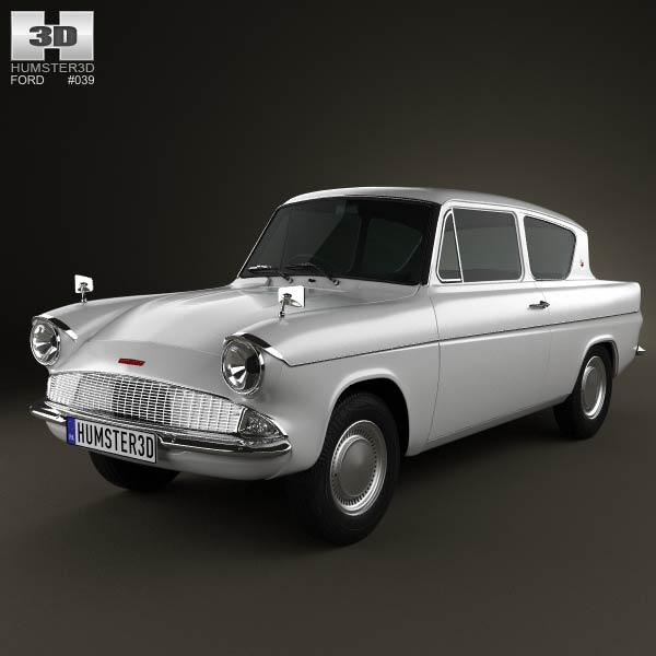Ford Anglia 105e 2 Door Saloon 1967 3d Model Humster3d
