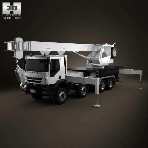Iveco Trakker Crane Truck 4-axis 2012 3d car model