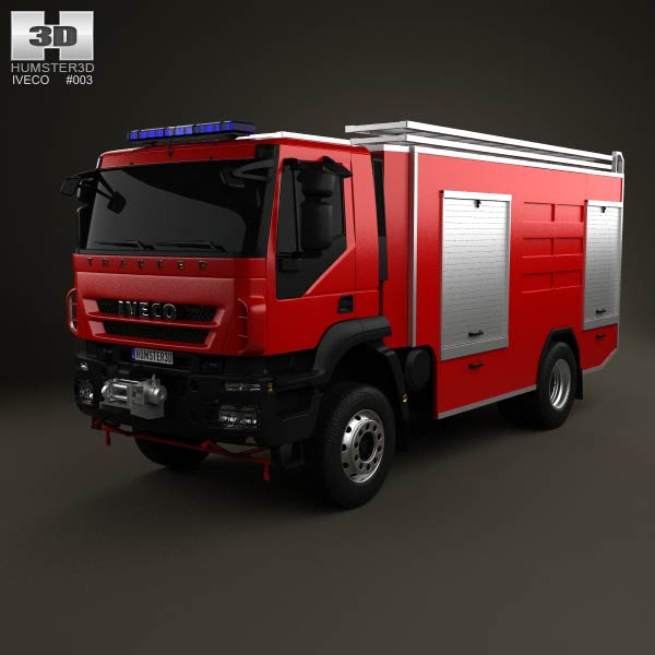 Iveco Trakker Fire Truck 2-axis 2012 3d car model