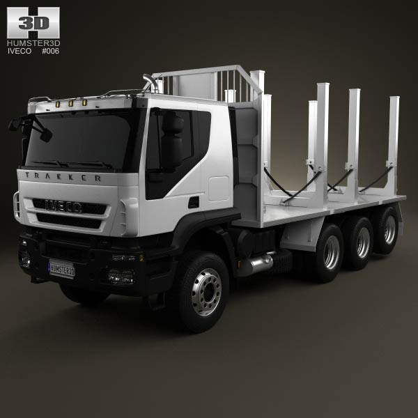 Iveco Trakker Log Truck 4-axis 2012 3d car model