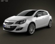 3D model of Opel Astra J hatchback 5-door 2012