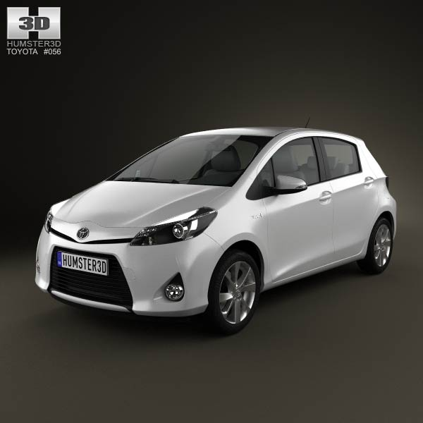 toyota yaris vitz hybrid 2013 3d model humster3d. Black Bedroom Furniture Sets. Home Design Ideas
