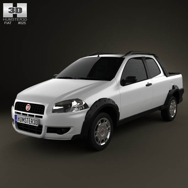 Fiat Strada Long Cab Working 2012 3d model