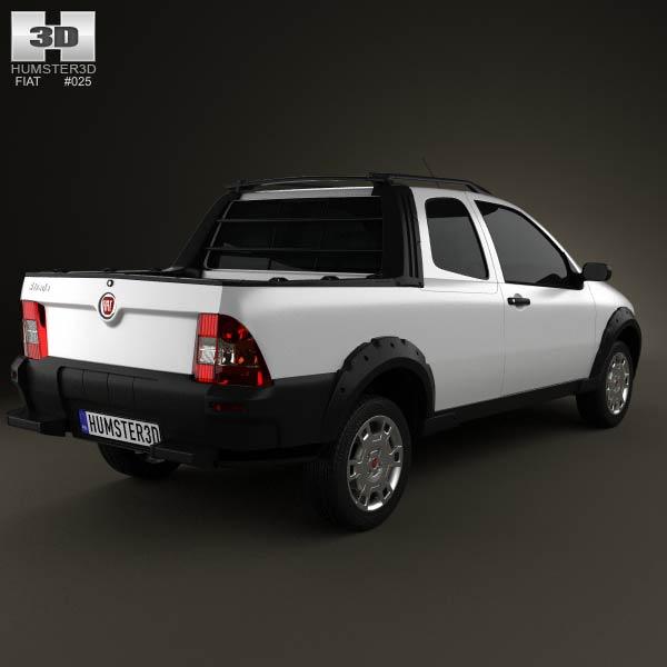 Fiat Strada Long Cab Working 2012 3d model
