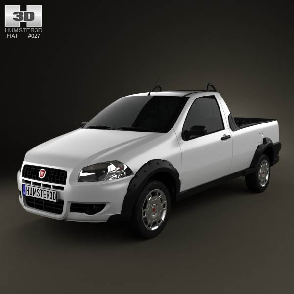 Fiat Strada Short Cab Working 2012 3d car model