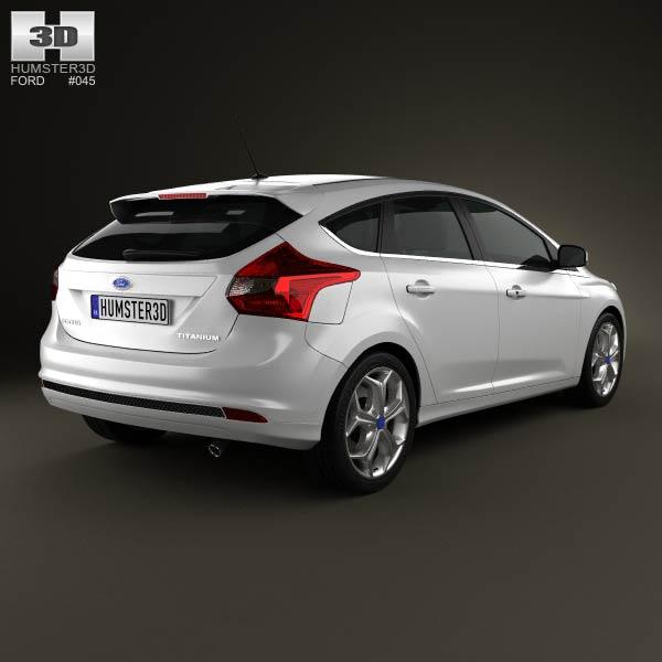ford focus hatchback titanium 2012 3d model humster3d. Black Bedroom Furniture Sets. Home Design Ideas