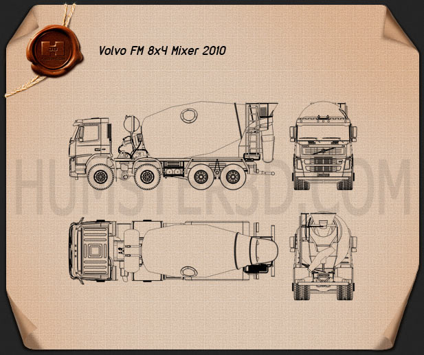 Volvo Truck 8×4 Mixer 2010 Blueprint