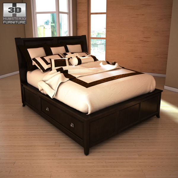 ashley martini suite queen panel headboard bed 3d model humster3d. Black Bedroom Furniture Sets. Home Design Ideas