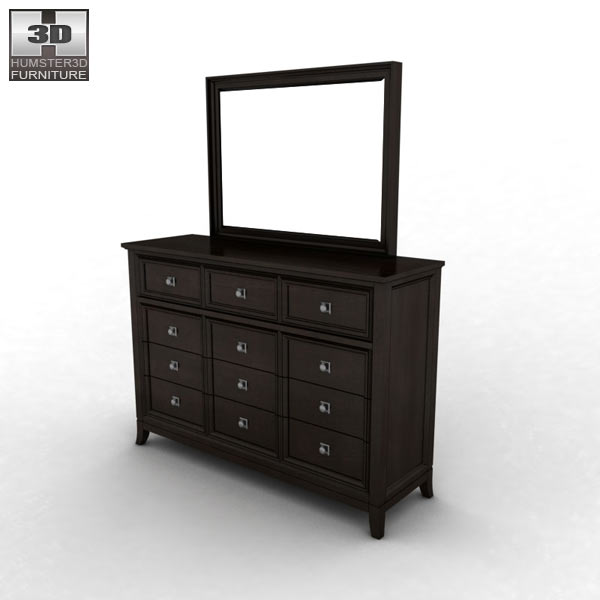 ashley martini suite dresser mirror 3d model humster3d
