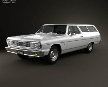 3D model of Chevrolet Chevelle (Malibu) 2-door wagon 1964