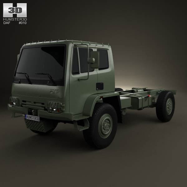 3D model of DAF Leyland T244 Chassis Truck 1989