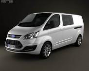 3D model of Ford Transit Custom Crew Van LWB 2013