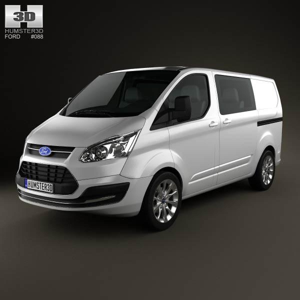 3D model of Ford Transit Custom Crew Van SWB 2013