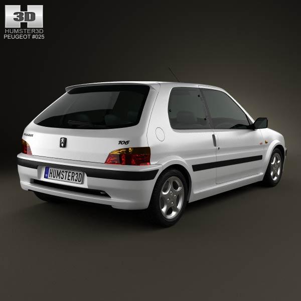 Peugeot 106 gti 3 door 1997 3d model humster3d for 106 door