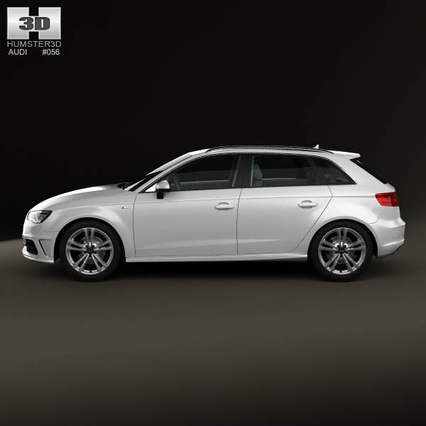 audi a3 sportback s line 2013 3d model humster3d. Black Bedroom Furniture Sets. Home Design Ideas