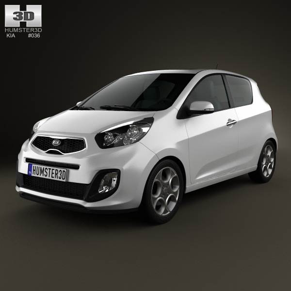 Kia Picanto (Morning) 3-door 2012 3d car model