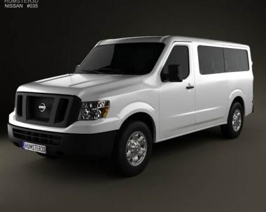 3D model of Nissan NV Passenger Van Standard Roof 2013