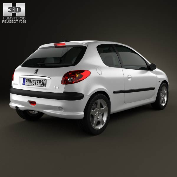 Peugeot 206 hatchback 3-door 2005 3d model