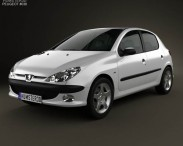 3D model of Peugeot 206 hatchback 5-door 2005