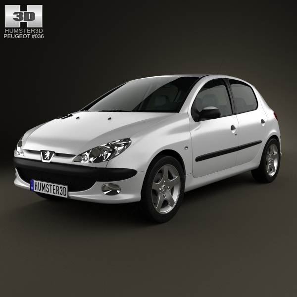 Peugeot 206 hatchback 5-door 2005 3d car model