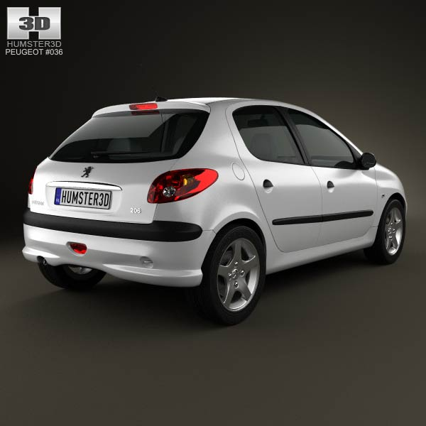 Peugeot 206 hatchback 5-door 2005 3d model