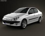 3D model of Peugeot 206 sedan 2010