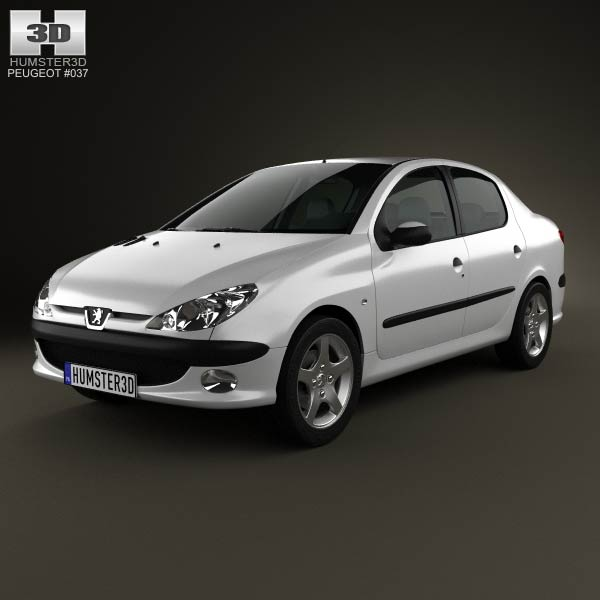 Peugeot 206 sedan 2010 3d car model