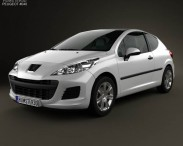 3D model of Peugeot 207 hatchback 3-door 2012